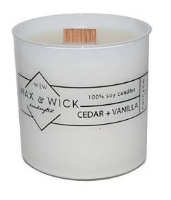 Scented Soy Candle: 100% Pure Soy Wax with Wood Double Wick | Burns Cleanly up to 60 Hrs | Cedar ...