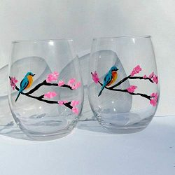 Bluebird Pink Cherry Blossom Tree Hand Painted Stemless Wine Glasses (Set Of 2) Bird Spring Decor
