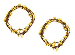 KMJ 6′ Berries & Twigs Candle Ring/String, Set of 2 (Yellow)