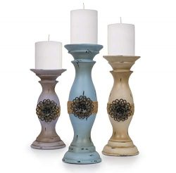 Besti Vintage Pillar Candle Holders (3-Piece Set) Tall, Decorative Metal Home Accents and Decor  ...