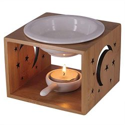 Singeek 100ML Essential Oil Burner,Hollowing Floral Tea Light Holder Aromatherapy Oil Warmer, Ho ...