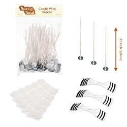 Candle Wick Bundle: 50 Candle Wicks, 50 Stickers and 3 Wick Holders – Easy Positioning  ...