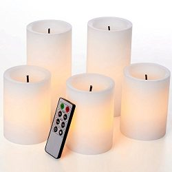 glowiu Faux Wick Flickering Flameless Candles, Christmas Pillar Candles Set of 5(H4-3pc & H6 ...
