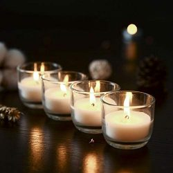 Supreme Lights Votive Candles Unscented Soy Wax with Clear Glass Holders, Long Lasting Burn Time ...