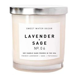 Lavender and Sage Natural Soy Wax Candle White Jar | Lime Fern Leaves Dill Moss Musk Pine Patcho ...