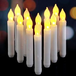 AMAGIC 6.5 Inch Flameless LED Taper Candles Lights, Battery Operated Harry Potter Floating Candl ...