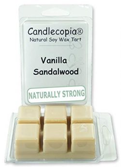 Candlecopia Vanilla Sandalwood Strongly Scented Hand Poured Vegan Wax Melts, 12 Scented Wax Cube ...