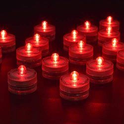 HL 36pack Red Waterproof Underwater Round Mini LED Tea Lights Submersible Lights for Wedding Hom ...