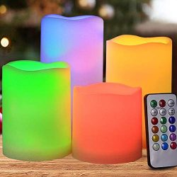 HOME MOST Set of 4 Flickering Flameless LED Pillar Candles with Remote & Timer 3×3 3&#2 ...