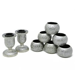 ShalinIndia Dinner Party Dinning Table Decor Set of 6 Napkin Rings and 2 Taper Candle Holders Ha ...