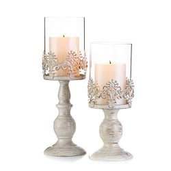 Pcs of 2 Vintage Metal Pillar Candle Holder Antique Hurricane Candlestick with Glass Screen Cove ...