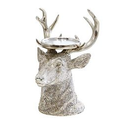 GiveU Pillar Candle Holder Christmas Reindeer Figurines, 9″, Antique Silver Home Furnishin ...