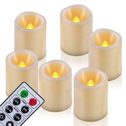 Homemory 6PCS Remote Control Timer Votive Candles, 1.5″x 2″ LED Flameless Flickering ...