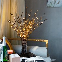 Pausseo 15-Pack LED Willow Branch Lamps Christmas 60 Bulbs Warm White Party Home Garden Decor So ...