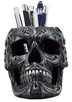 Ebros Gift Tribal Tattoo Floral Skull Pen Holder Figurine 5.75″L Office Desktop Ossuary Sk ...
