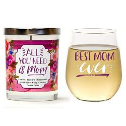 Cedar Crate Market Best Mom Ever Set | Cute Stemless 15oz Wine Glass| All You Need is Mom Luxury ...