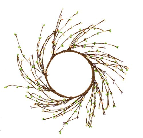 KMJ Mixed Berries & Twigs Wreath, 10″ (Pink, Green, White)