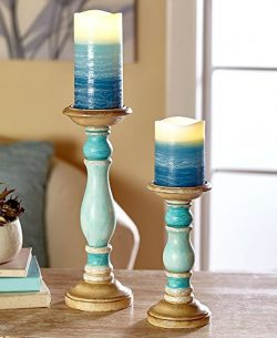 The Lakeside Collection 4-Pc. LED Candle & Holder Set- Blue