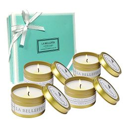 LABELLEFEE Scented Candles Soy Wax Travel Tin Candles – Candle Set for Aromatherapy, Festi ...