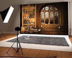 Laeacco 7x5FT Vinyl Backdrop Photography Background European Retro Library Bookshelf Study Mural ...