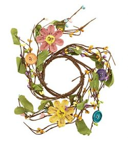 KMJ Berries & Twigs Wreath with Resin Buttons & Flower Accents, 9″