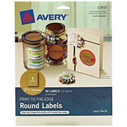 Avery Round Labels for Laser & Inkjet Printers, 2.5″, 90 Kraft Brown Labels (22818)