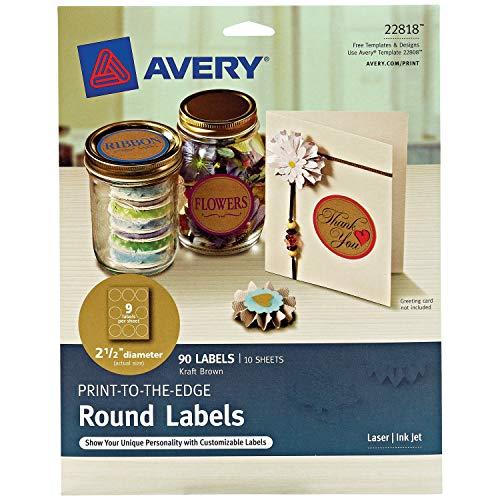 Avery Round Labels for Laser & Inkjet Printers, 2.5″, 90 Kraft Brown Labels (22818)