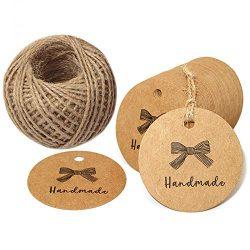 "100 PCS Handmade Tags Kraft Paper Hang Tags 2"" Round Tags Craft Gift Tags with 100 Feet Na ..."