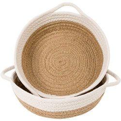 Goodpick 2pack Cotton Rope Basket – Woven Storage Basket – 9.8″ x 8.7″ x ...