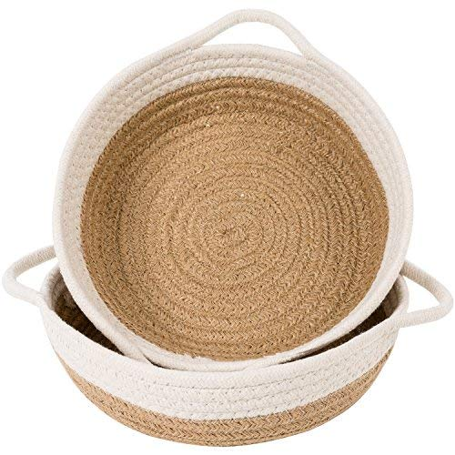 Goodpick 2pack Cotton Rope Basket – Woven Storage Basket – 9.8″ x 8.7″ x ...