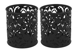 EasyPAG 2 Pcs 3-1/4 inch Dia x 3-3/4 inch High Round Floral Pencil Holder, Black