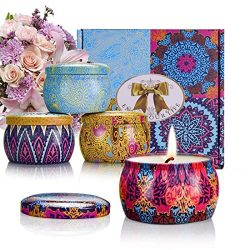 CREASHINE Scented Candles Gift Set Natural Soy Wax Portable Travel Tin Candle Aromatherapy Candl ...