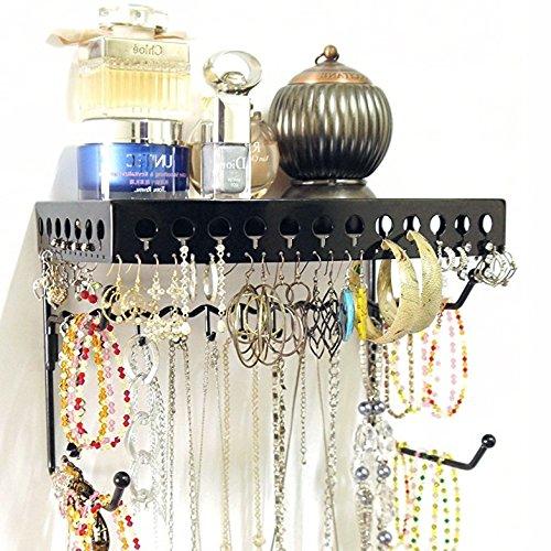 Mango Steam Wall-Mounted Jewelry Organizer Shelf (10 Inch, Black)