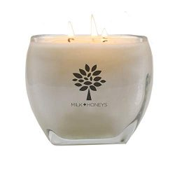 MILK+HONEYS Pretty Large Scented Candle – Cashmere LA Vie – 100% Soy Candle, 3 Wicks ...