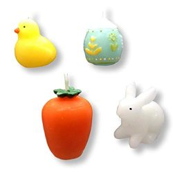 tag Garden Spring Candles Set of 4 Egg, Bunny Carrot Baby Chick by