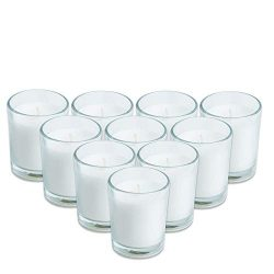 Simplicite Glass Votive Candles Unscented Set of 12 in White | Finest Wax Blend & Cotton Wic ...