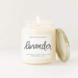 Lavender Natural Soy Wax Candle Clear Jar Gold Lid | Bergamot Lavender Cedar Spa Scented Essenti ...