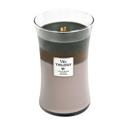 WoodWick Trilogy Cozy Cabin, 3-in-1 Highly Scented Candle, Classic Hourglass Jar, Large 7-inch,  ...