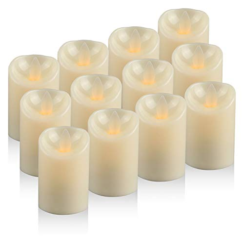 Moving Wick LED Candles Tea Light, Battery Operated Flickering Electric Candles, Pack of 12 (D:2 ...