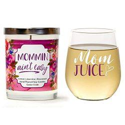 """Mom Juice"" Gift Set | Cute Stemless 15oz Wine Glass | ""Mommin Ain't Eas ..."