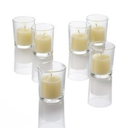 Set of 72 Ivory Richland Votive Candles and 72 Holders