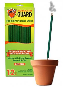Mosquito Guard Incense Repellent Sticks – 12 Inch Incense Sticks Made with Natural Plant Based I ...
