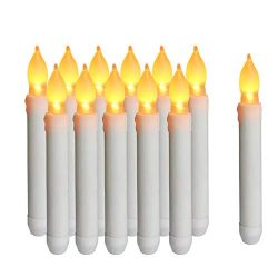 Flameless LED Taper Candles, Battery Operated LED Candle, Realistic Flickering Dripping Electric ...
