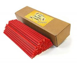 Natural Pure Beeswax Candles Organic Honey Eco Candles Amber Red Color in Gift Box (Natural Cott ...