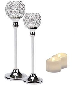 Manvi Crystal Candle Holders Centerpieces, Silver Candlesticks Holders Set of 2 for Wedding Vale ...