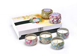 Wisegift Scented Candles Gift Set of 6, 100% Natural Soy Wax Portable Travel Tin, or Use for Wed ...