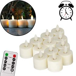 Pack of 12 Realistic and Bright Flickering Bulb Flameless LED Tea Light Fake Flameless Candles w ...