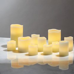 Flameless Pillar and Votive Candle Set – Real Wax, Flickering LED Candles, Assorted Sizes, ...