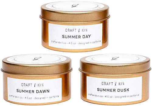 Craft & Kin Scented Candle Set – Gold Travel Tin Scented Candles Gift Set – Summ ...
