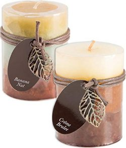 Fall Scented Candles Set Bundle of 2 Decorative Layered Pillar Candles 3 x 4 Inches (Creme Brule ...